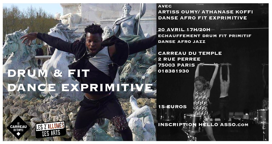 Stage de Danse Afro fit exprimitive au Carreau du Temple 20 avril 17H/20H